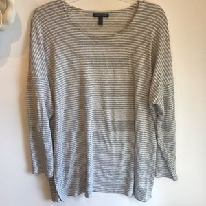 Eileen Fisher gray white striped tunic top large